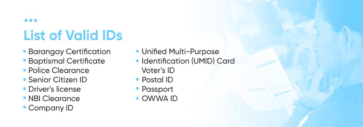 List of Valid IDs